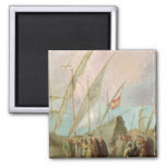 Departure of Christopher Columbus  from Palos 2 Inch Square Magnet