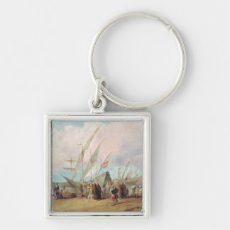 Departure of Christopher Columbus  from Palos Silver-Colored Square Keychain