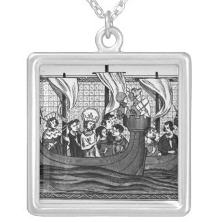 Departure of St. Louis for the Crusade Square Pendant Necklace