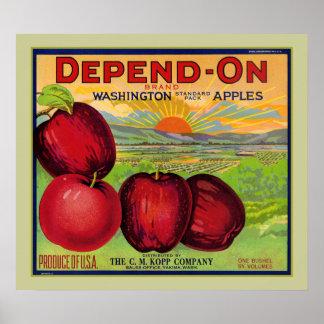 Dependa del poster de las manzanas de Washington