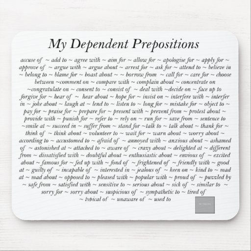 Dependent Prepositions Mousepad
