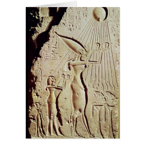 Depicting Amenophis IV, Nefertiti and Daughter Card