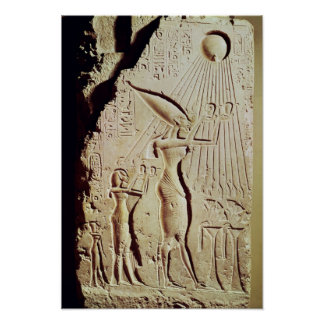 Depicting Amenophis IV, Nefertiti and Daughter Poster