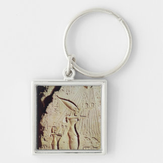 Depicting Amenophis IV, Nefertiti and Daughter Silver-Colored Square Keychain