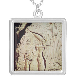 Depicting Amenophis IV, Nefertiti and Daughter Silver Plated Necklace