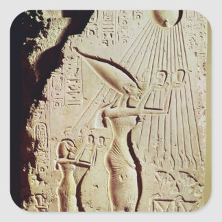 Depicting Amenophis IV, Nefertiti and Daughter Square Sticker