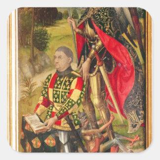 Depicting  donor of  altarpiece, Michel de Square Sticker