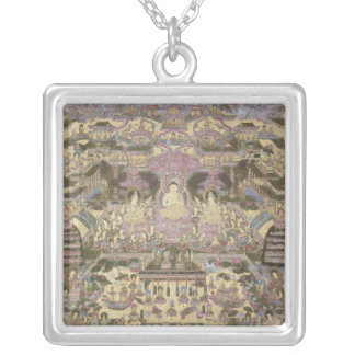 Depiction of Spiritual and Material Worlds Square Pendant Necklace