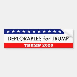Deplorables for Trump 2020 Bumper Sticker