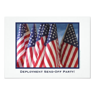 Deployment Send-Off Party, American Flags 5x7 Paper Invitation Card