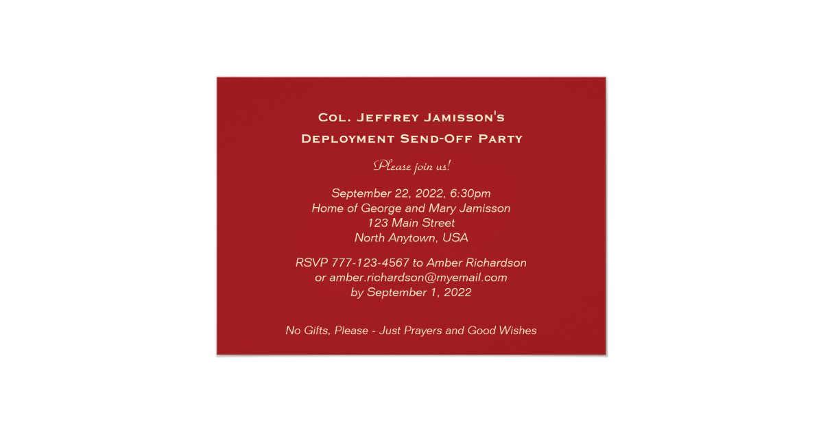 Deployment SendOff Party American Flags Card – Deployment Party Invitations