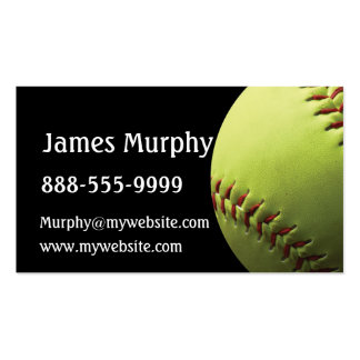 Deporte amarillo del softball tarjetas de visita