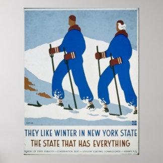 Deporte de invierno del vintage en Nueva York Póster