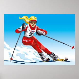 Deporte de invierno femenino del esquiador del esl póster
