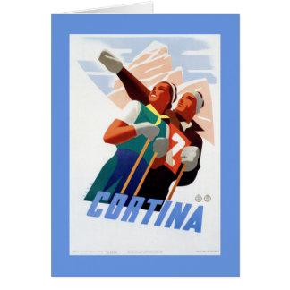 Deporte de invierno italiano del esquí del viaje tarjeta de felicitación