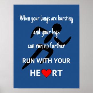 Deporte de motivación de la cita del corredor póster