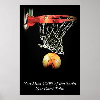 Deporte de motivación del baloncesto de la cita póster