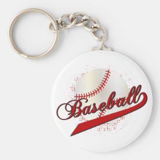 Deporte del béisbol en rojo oscuro llavero redondo tipo pin