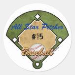 Deporte del diamante de béisbol etiquetas redondas