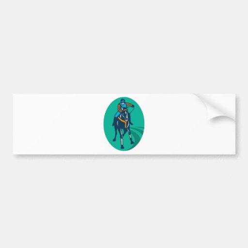 deporte del jinete de la carrera de caballos pegatina de parachoque