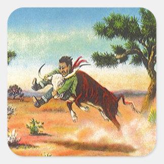 Deporte del rodeo de Wrangler del buey del vaquero Pegatina Cuadrada