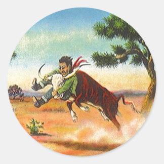 Deporte del rodeo de Wrangler del buey del vaquero Pegatina Redonda