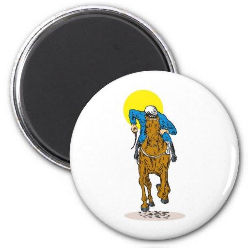 deporte ecuestre de la carrera de caballos imán redondo 5 cm