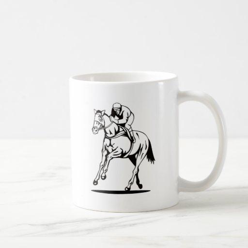 deporte ecuestre de la carrera de caballos taza de café