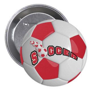 Deporte el   del balón de fútbol rojo oscuro pin redondo de 3 pulgadas
