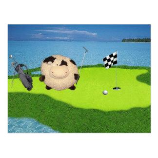 Deporte feliz del golf de la vaca tarjetas postales
