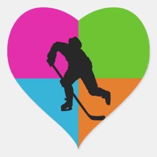 deporte - hockey sobre hielo colcomanias de corazon personalizadas