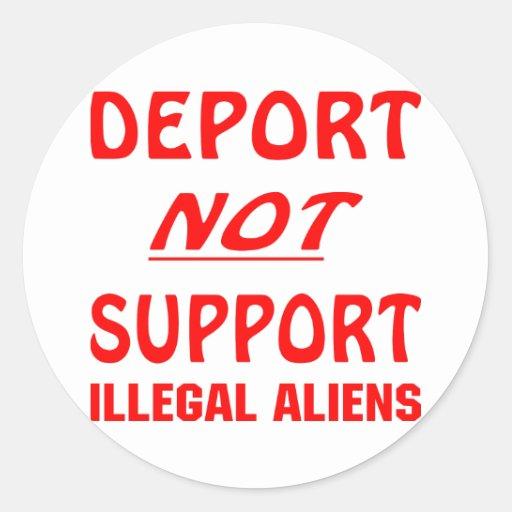 Deporte no a los inmigrantes ilegales de la ayuda etiqueta redonda