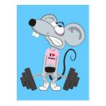 Deporte ratón con Hanteln Postal