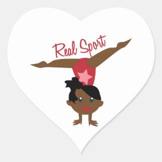 Deporte real pegatina en forma de corazón