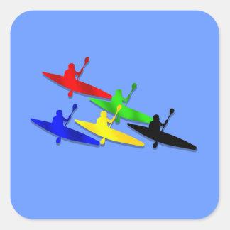 Deportes acuáticos Canoeing del kyak de la canoa Pegatina Cuadrada