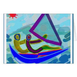 Deportes acuáticos del barco de vela tarjeta de felicitación