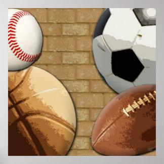 Deportes Al-Estrella, baloncesto/fútbol/fútbol Poster