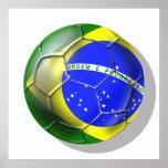 Deportes brasileños de la bandera del fútbol de la póster