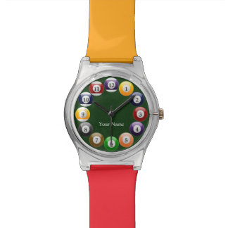 Deportes coloridos brillantes del billar de la reloj de mano