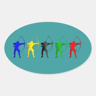 Deportes de Archer de los juegos   del verano del Pegatina Ovalada
