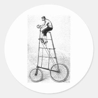 Deportes de ciclo del vintage alto de la bicicleta pegatina redonda