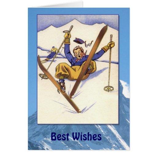 Deportes de invierno - caída del vintage en la nie tarjetas