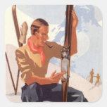 Deportes de invierno del vintage - ajuste de los e pegatinas cuadradas personalizadas