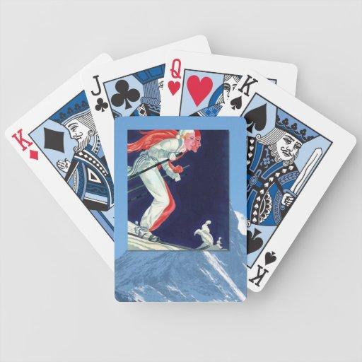 Deportes de invierno del vintage - compitiendo con barajas de cartas