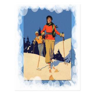 Deportes de invierno del vintage - en el piste postal