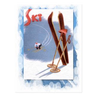 Deportes de invierno del vintage - equipo del esqu postal