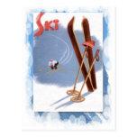 Deportes de invierno del vintage - equipo del postal