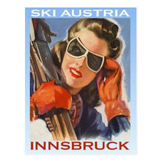 Deportes de invierno del vintage, esquí Austria, I Tarjeta Postal