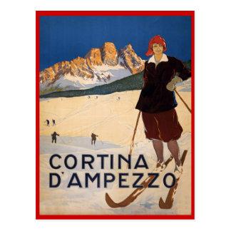 Deportes de invierno del vintage, esquí Cortina d' Postal