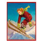 Deportes de invierno del vintage, esquí cuesta aba tarjetas postales